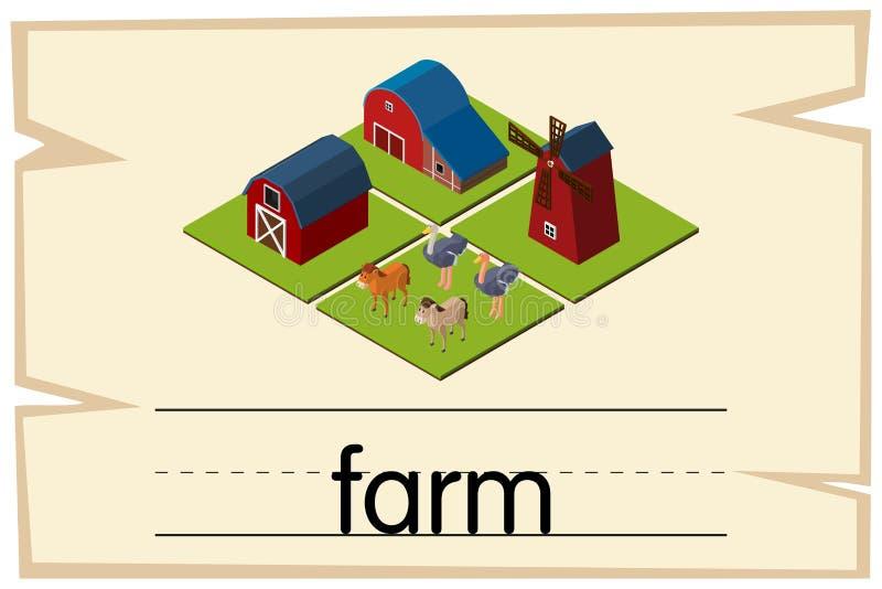 Wordcard projekt dla słowa gospodarstwa rolnego ilustracja wektor