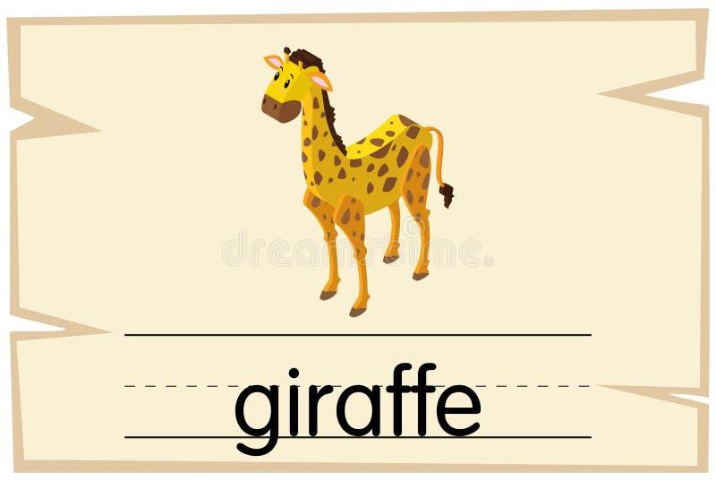 Wordcard projekt dla słowo żyrafy royalty ilustracja