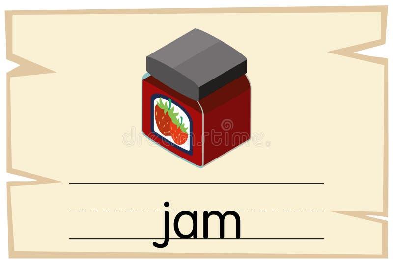 Wordcard projekt dla słowo dżemu ilustracji