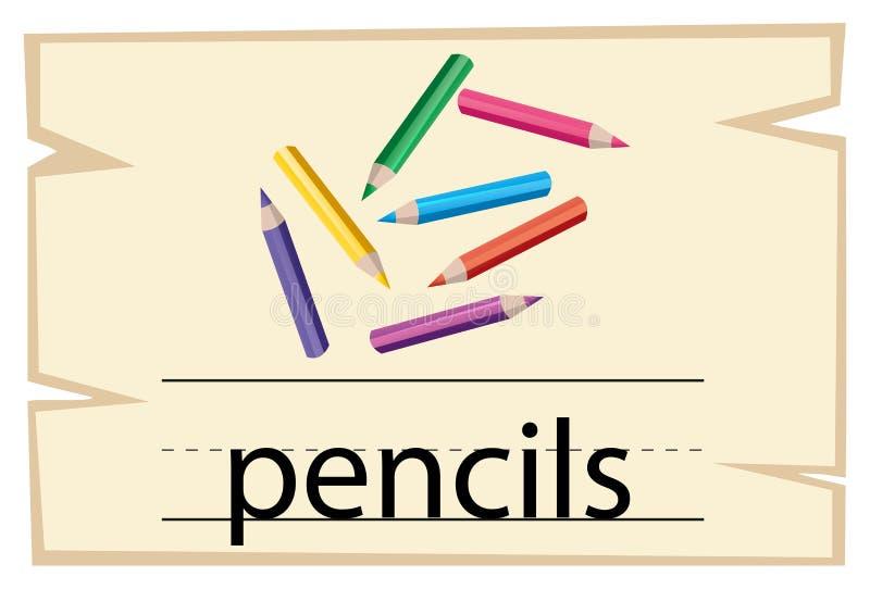 Wordcard projekt dla słowo ołówków ilustracja wektor