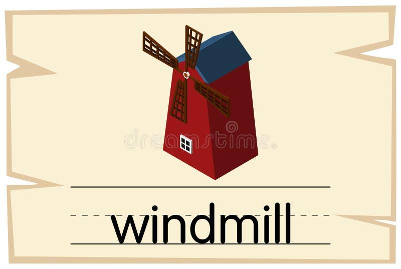 Wordcard projekt dla słowo wiatraczka ilustracja wektor
