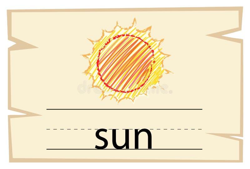 Wordcard szablon dla słowa słońca royalty ilustracja