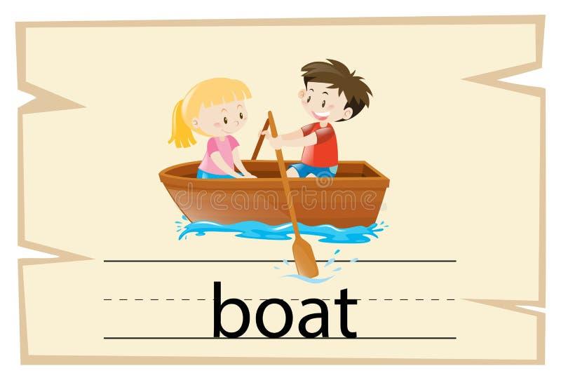 Wordcard szablon dla słowo łodzi ilustracji