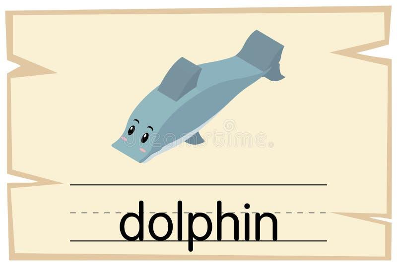 Wordcard szablon dla słowo delfinu ilustracja wektor