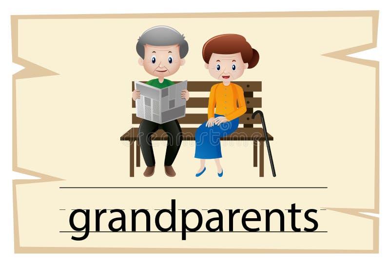 Wordcard szablon dla słowo dziadków ilustracja wektor