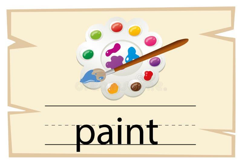 Wordcard szablon dla słowo farby ilustracji