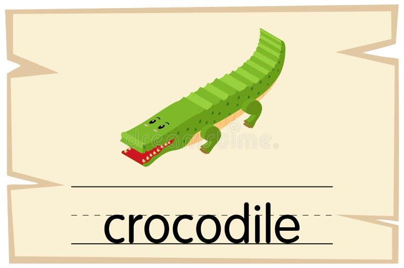 Wordcard szablon dla słowo krokodyla ilustracji