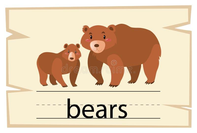 Wordcard szablon dla słowo niedźwiedzi ilustracji