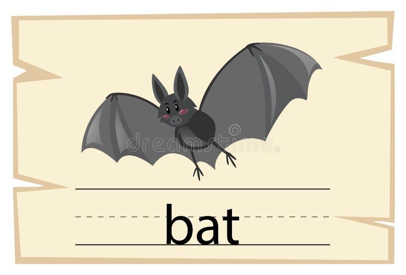 Wordcard szablon dla słowo nietoperza ilustracja wektor
