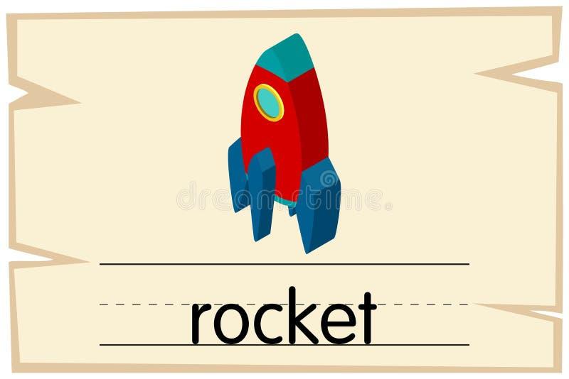 Wordcard szablon dla słowo rakiety ilustracja wektor