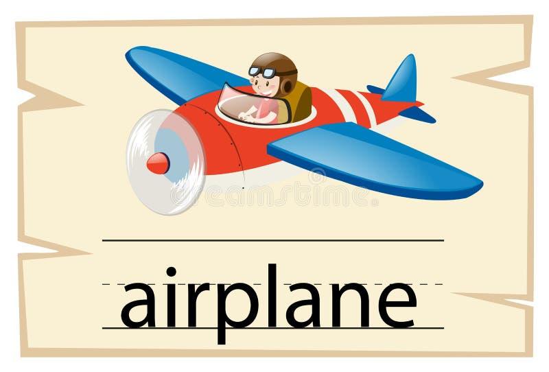 Wordcard szablon dla słowo samolotu ilustracji