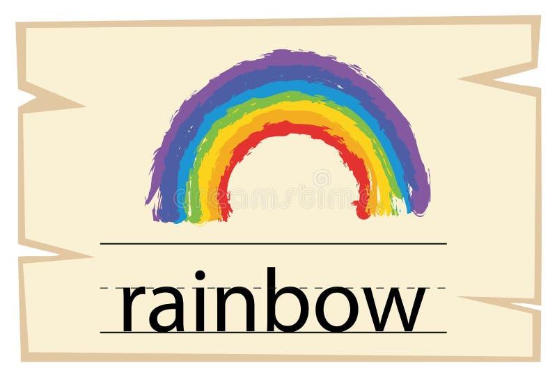 Wordcard szablon dla słowo tęczy royalty ilustracja