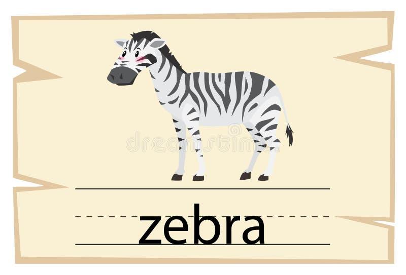 Wordcard szablon dla słowo zebry ilustracja wektor