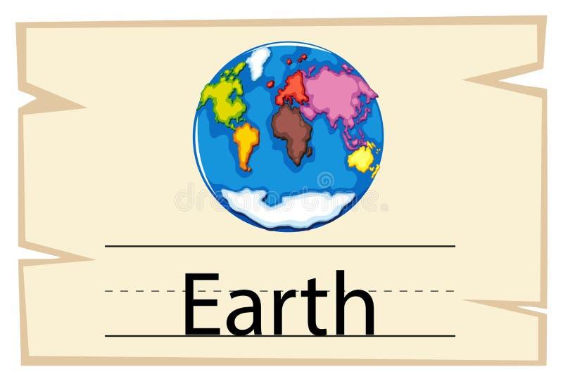 Wordcard szablon dla słowo ziemi royalty ilustracja