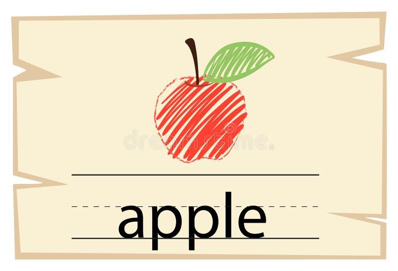 Wordcard szablon z słowa jabłkiem ilustracji
