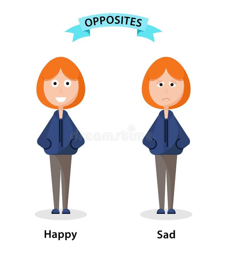 Wordcard voor gelukkige en droevige antoniemen en tegengestelden De illustratie van beeldverhaalkarakters op witte achtergrond Ka royalty-vrije illustratie