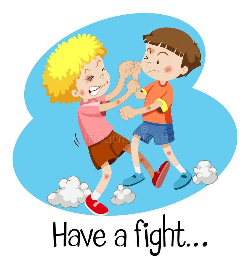 Wordcard voor heeft een strijd met twee jongens het vechten vector illustratie