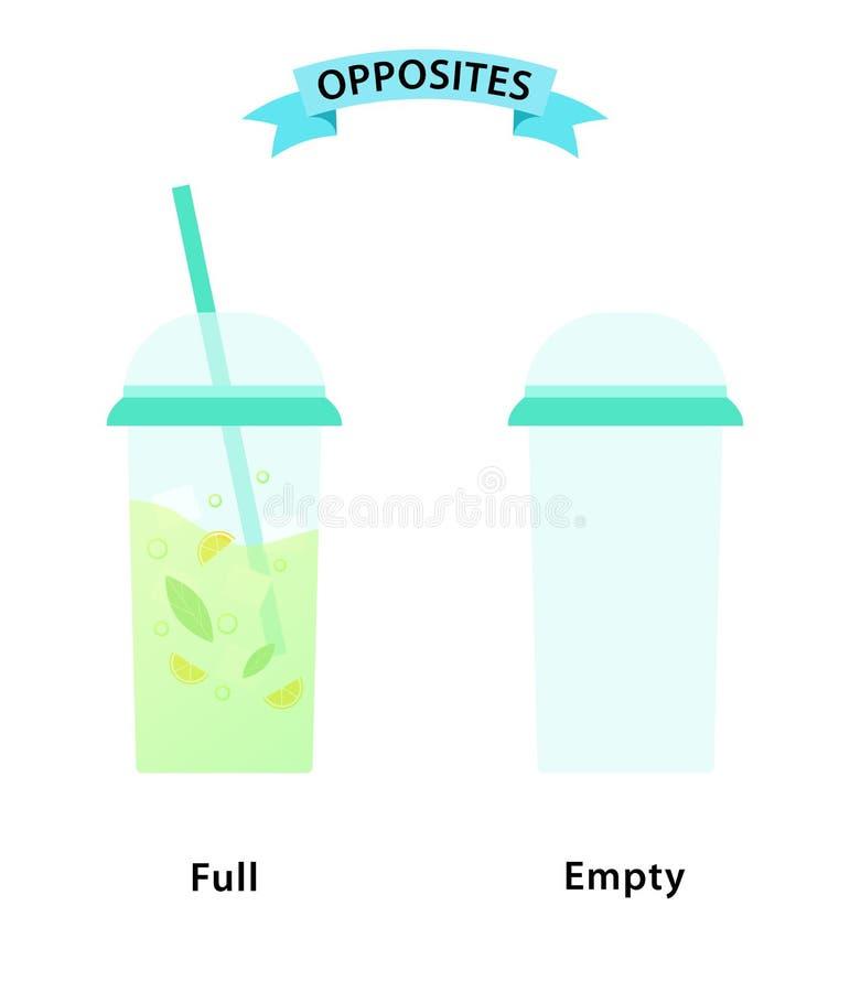 Wordcard voor volledige en lege antoniemen en tegengestelden Illustratie van een volledig glas en leeg glas op witte achtergrond stock illustratie