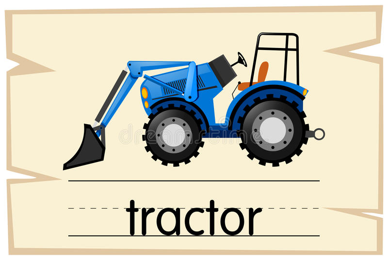 Wordcard with word tractor. Illustration vector illustration