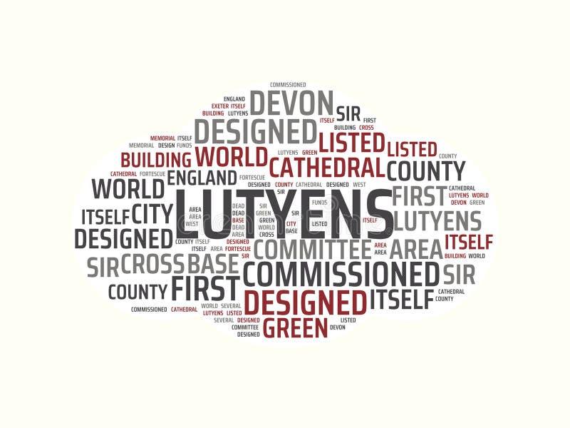 Wordcloud με την κύρια λέξη lutyens και τις σχετικές λέξεις, αφηρημένη απεικόνιση ελεύθερη απεικόνιση δικαιώματος