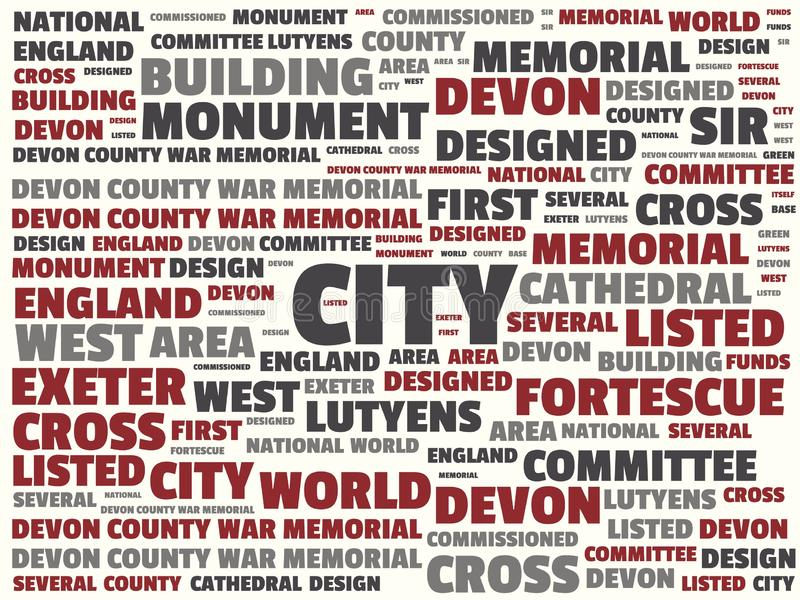 Wordcloud με την κύρια πόλη λέξης και τις σχετικές λέξεις, αφηρημένη απεικόνιση διανυσματική απεικόνιση