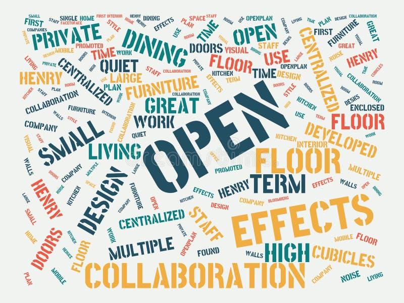 Wordcloud με τις κύριες ανοικτές και σχετικές λέξεις λέξης, αφηρημένη απεικόνιση διανυσματική απεικόνιση