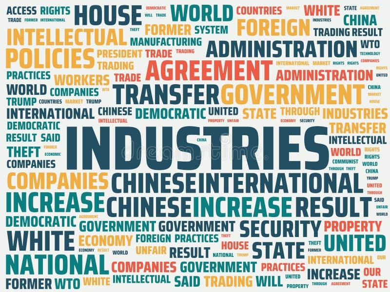 Wordcloud με τις κύριες βιομηχανίες λέξης και τις σχετικές λέξεις, αφηρημένη απεικόνιση ελεύθερη απεικόνιση δικαιώματος