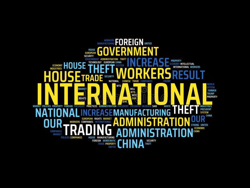 Wordcloud με τις κύριες διεθνείς και σχετικές λέξεις λέξης, αφηρημένη απεικόνιση απεικόνιση αποθεμάτων