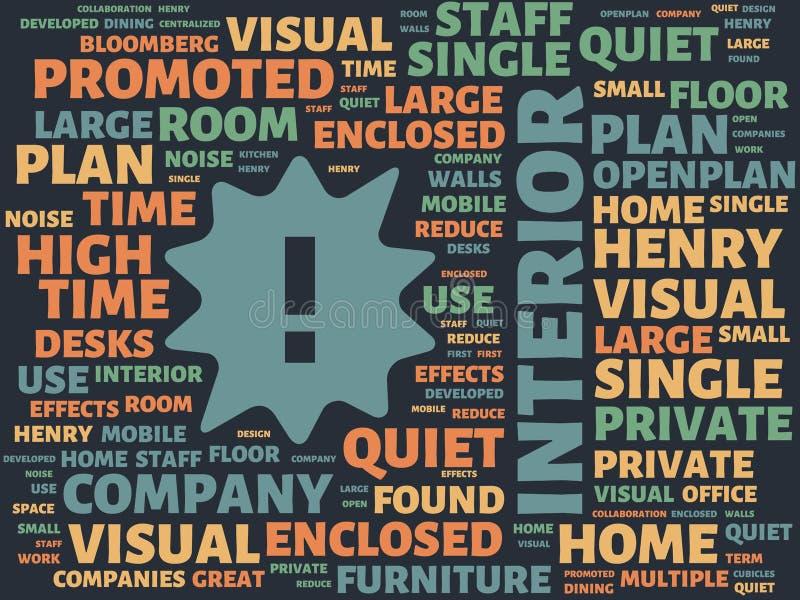 Wordcloud με τις κύριες εσωτερικές και σχετικές λέξεις λέξης, αφηρημένη απεικόνιση διανυσματική απεικόνιση