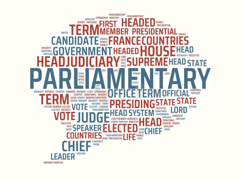 Wordcloud με τις κύριες κοινοβουλευτικές και σχετικές λέξεις λέξης, αφηρημένη απεικόνιση απεικόνιση αποθεμάτων