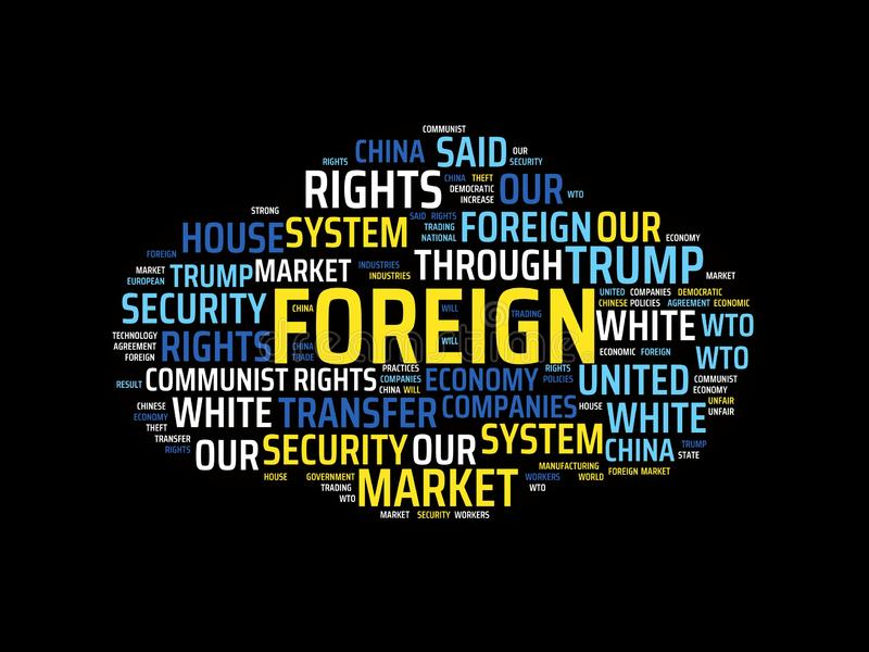 Wordcloud με τις κύριες ξένες και σχετικές λέξεις λέξης, αφηρημένη απεικόνιση ελεύθερη απεικόνιση δικαιώματος