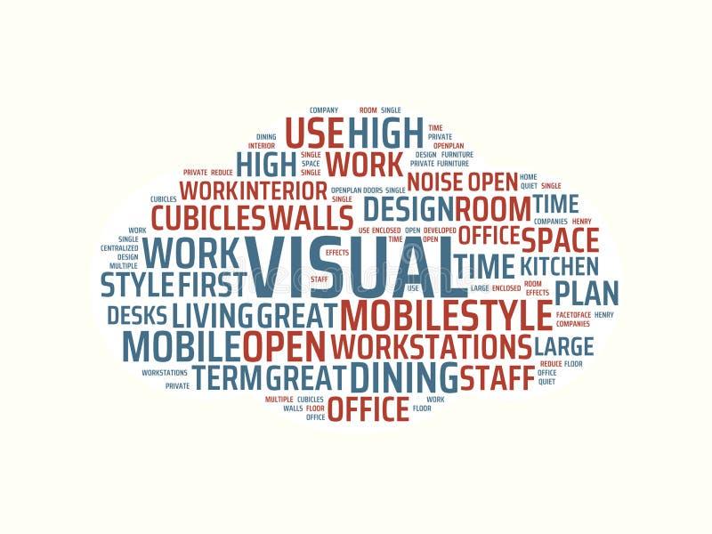 Wordcloud με τις κύριες οπτικές και σχετικές λέξεις λέξης, αφηρημένη απεικόνιση ελεύθερη απεικόνιση δικαιώματος