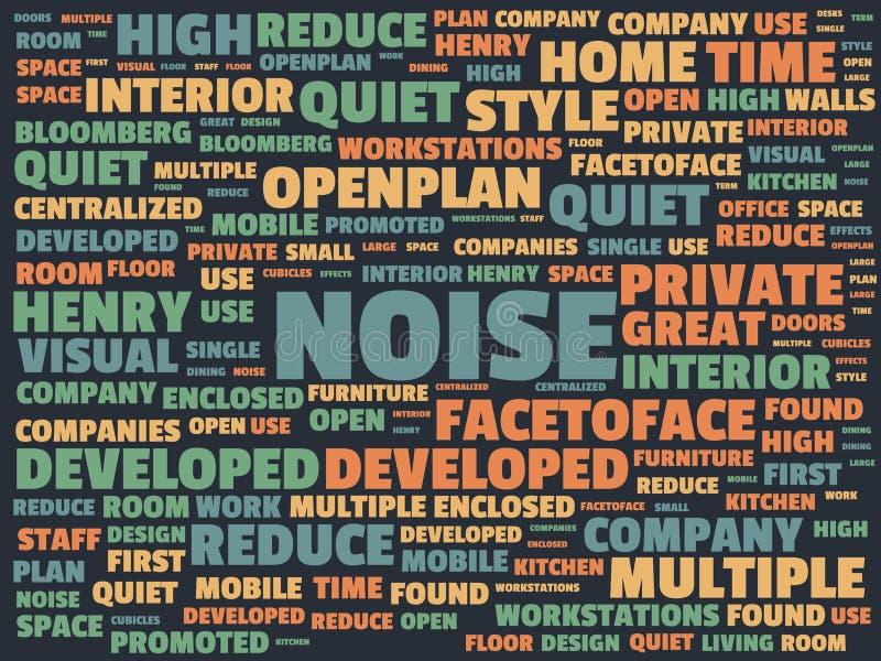 Wordcloud με τον κύριο θόρυβο λέξης και τις σχετικές λέξεις, αφηρημένη απεικόνιση απεικόνιση αποθεμάτων