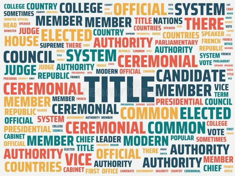 Wordcloud με τον κύριο τίτλο λέξης και τις σχετικές λέξεις, αφηρημένη απεικόνιση ελεύθερη απεικόνιση δικαιώματος
