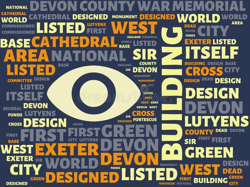Wordcloud με το κύριο κτήριο λέξης και τις σχετικές λέξεις, αφηρημένη απεικόνιση διανυσματική απεικόνιση