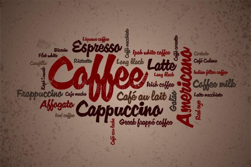 wordcloud кофе иллюстрация вектора