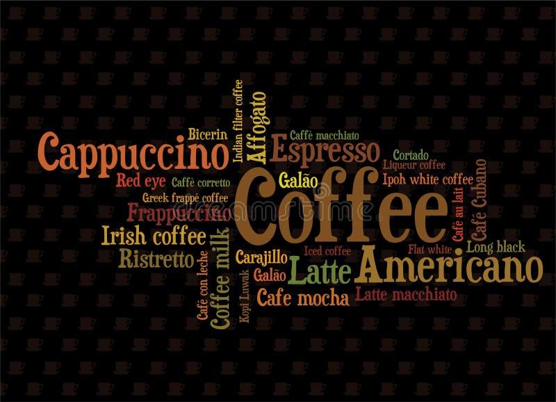 wordcloud кофе иллюстрация штока
