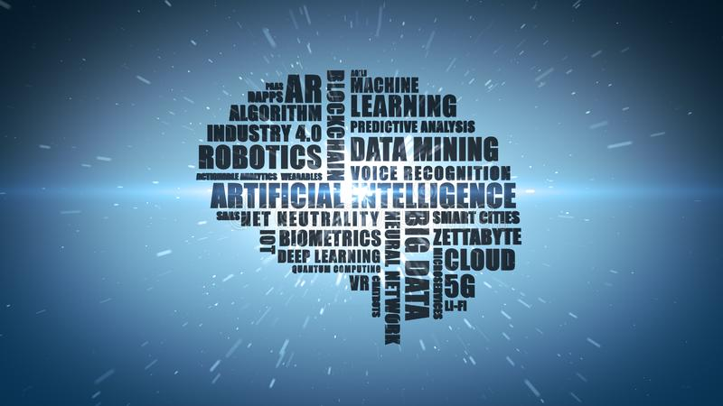 Wordcloud azul del palabra de moda de la tecnología para la inteligencia artificial fotos de archivo