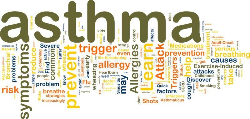 Wordcloud d'asthme illustration libre de droits