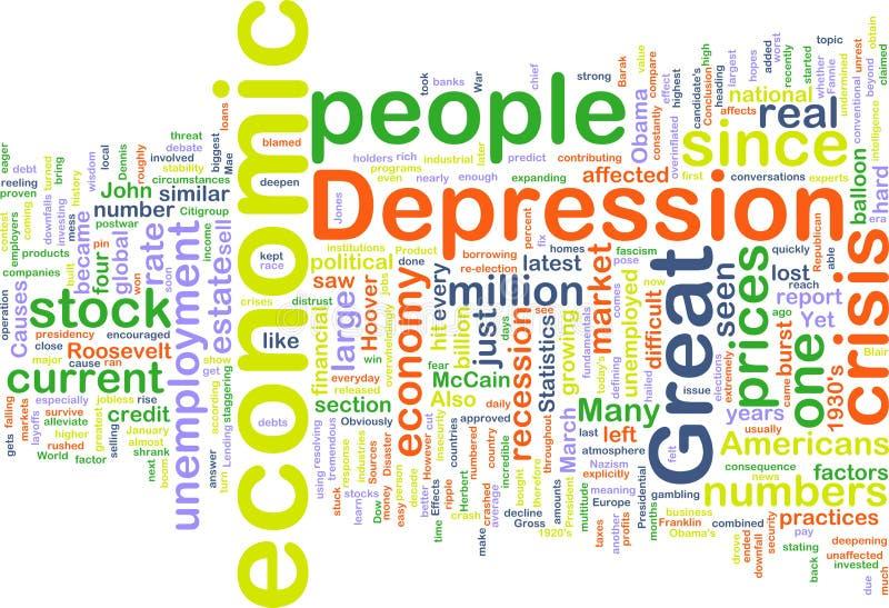 Wordcloud da depressão econômica ilustração royalty free