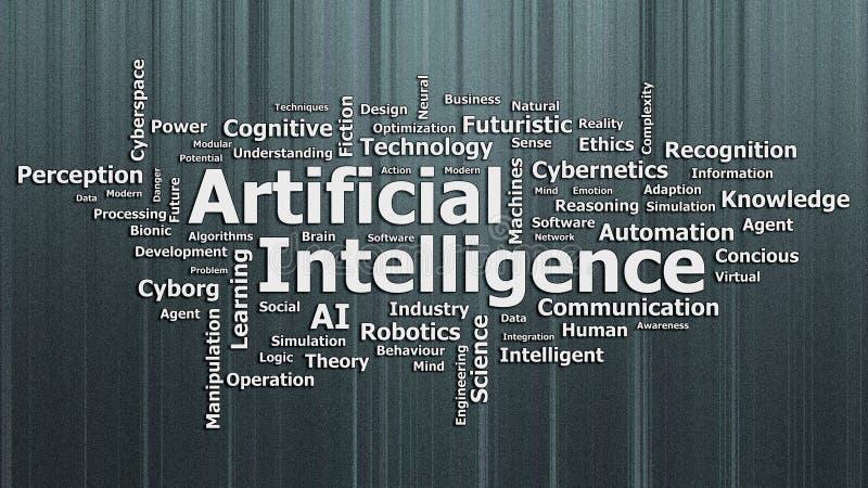 Wordcloud da inteligência artificial com fundo textured ilustração do vetor