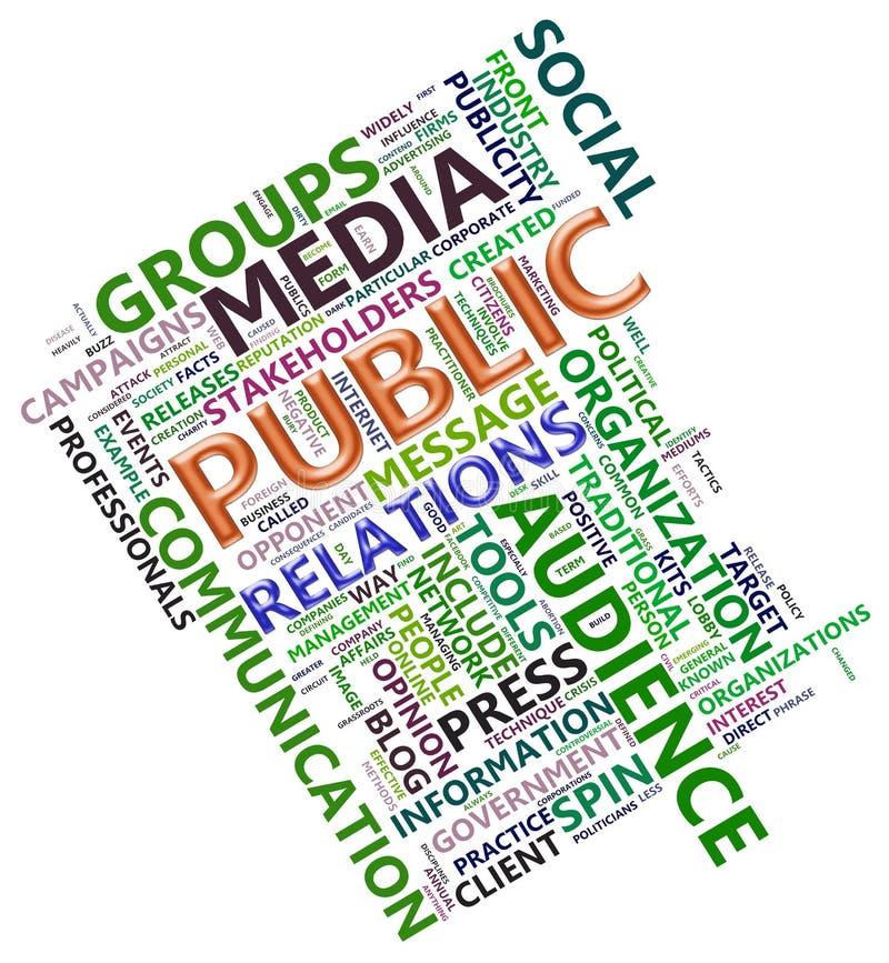 Wordcloud da relação pública ilustração do vetor