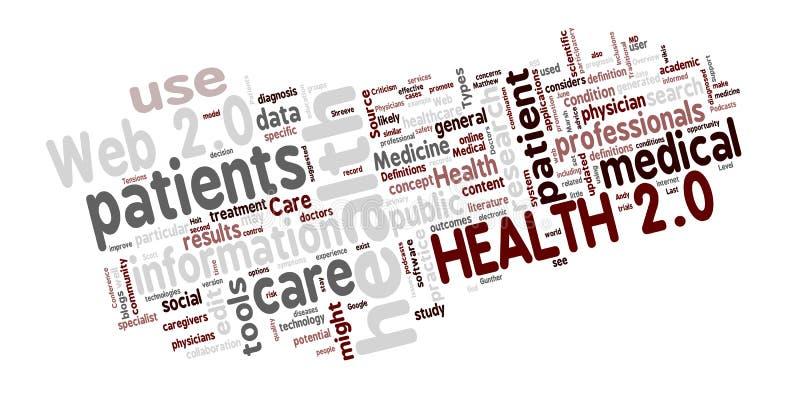 Wordcloud da saúde 2.0 ilustração stock