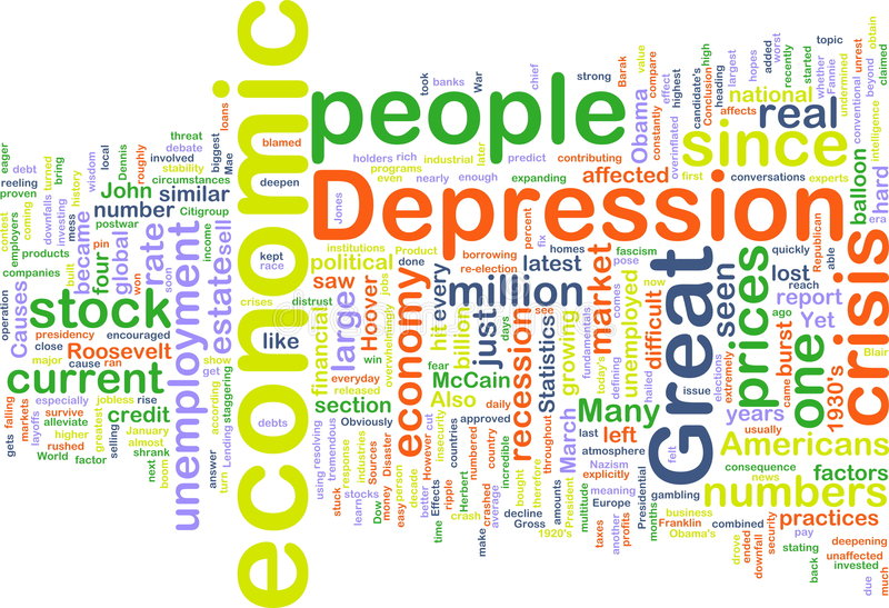Wordcloud de dépression économique illustration libre de droits