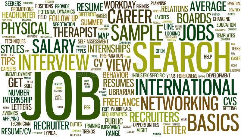 Wordcloud de la búsqueda de trabajo ilustración del vector