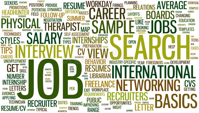 Wordcloud de recherche d'un emploi illustration de vecteur