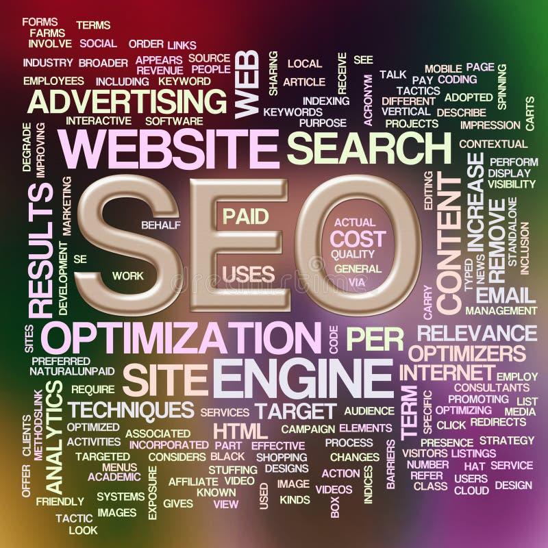 Wordcloud de seo - optimisation de Search Engine illustration de vecteur