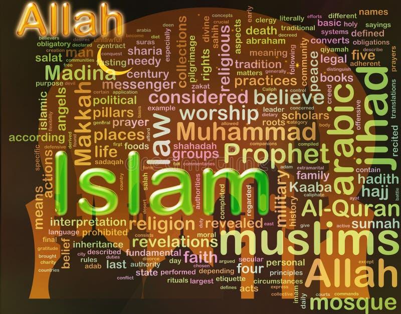 Wordcloud del ?Islam? ilustración del vector