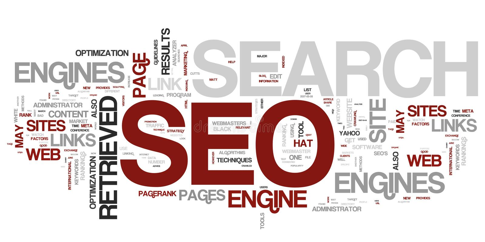 Wordcloud di SEO royalty illustrazione gratis
