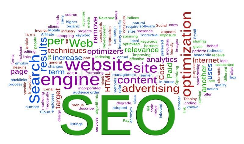 Wordcloud di SEO - ottimizzazione di Search Engine illustrazione di stock